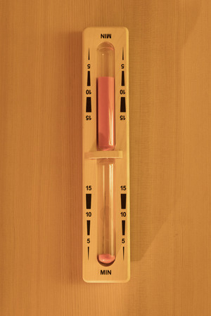 Interior of small home Finnish wooden sauna