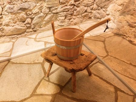 finnish bath: Interior of small home Finnish wooden sauna