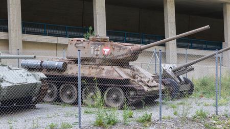 Nauders, Austria - , August 9, 2017. Soviet WW2 tank, model T34/85, at the Festung Nauders, a fortress build in WW1.