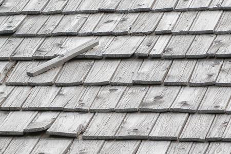 Very old wooden roofing tiles - Selective focus