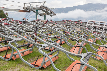 tripped: Ski lift chairs waiting to be used in the Alps - Austria