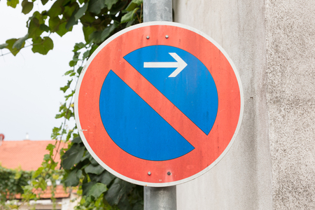 Road sign, prohibitory sign - No parking here Stock Photo