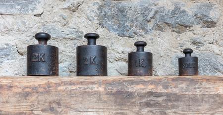 Old metal antique weights, Austria - Selective focus