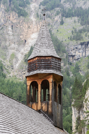 the collapsing: Simple wooden church in Austria - In need of some maintenance Stock Photo