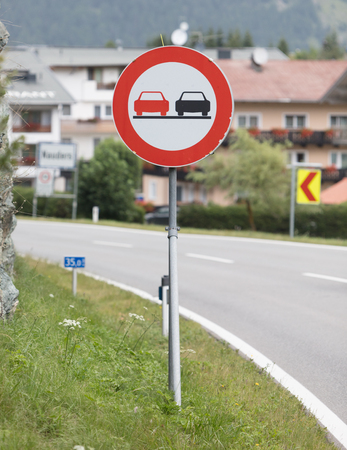 No overtaking sign in a secondary road - Austria