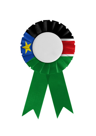 Award ribbon isolated on a white background, South Sudan