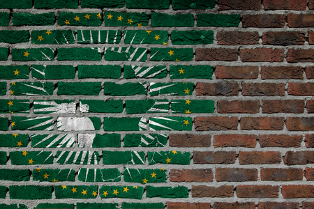 Very old dark red brick wall texture - Flag of African Union