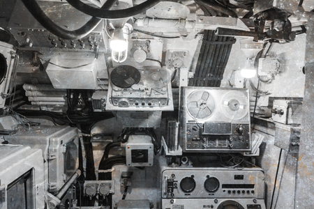 Interior of an old submarine - Limited space and lots of equipment - Radio room