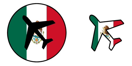 Nation flag - Airplane isolated on white - Mexico Banque d'images