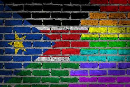 concrete surface finishing: Very old dark red brick wall texture - Flag of South Sudan with rainbow flag