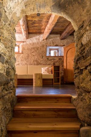 finnish bath: Interior of large home sauna, vintage building