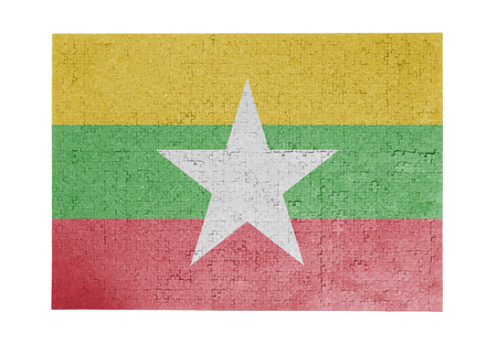 Large jigsaw puzzle of 1000 pieces - flag - Myanmar