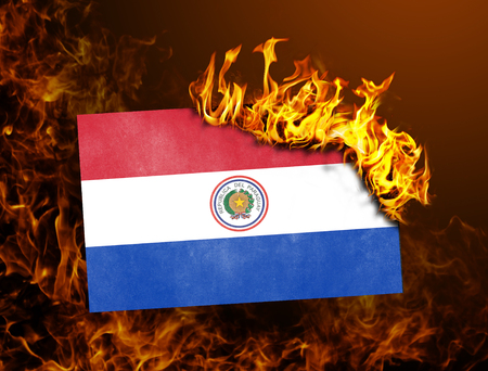bandera de paraguay: Flag burning - concept of war or crisis - Paraguay