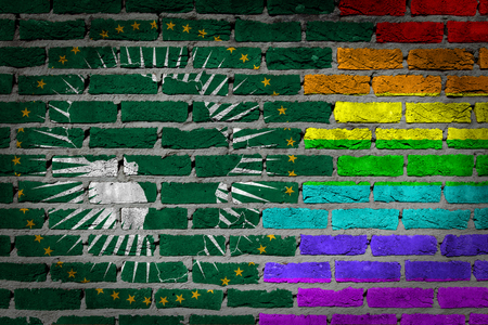 concrete surface finishing: Very old dark red brick wall texture - Flag of African Union with rainbow flag