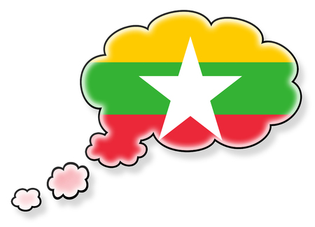 Flag in the cloud, isolated on white background, flag of Myanmar