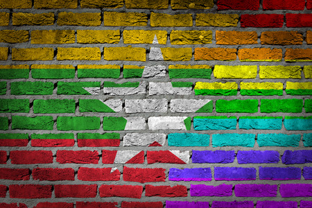 concrete surface finishing: Very old dark red brick wall texture - Flag of Myanmar with rainbow flag