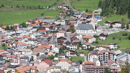 Beautiful view on the village of Nauders, at the north of the famous Reschensee in the Alps