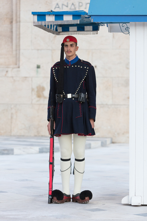 Athens, Greece - October 24, 2017: Evzones in front of the Tomb of the Unknown Soldier