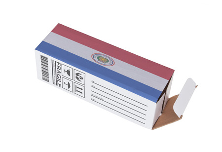 Concept of export, opened paper box - Product of Paraguay Banque d'images