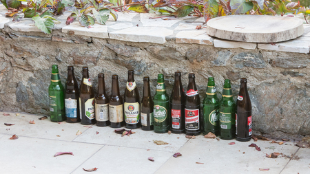 Sounion, Greece - October 25, 2017; Row of different beers, beers from Greece and import.