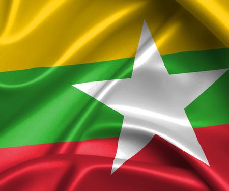 Waving flag, close up - Flag of Myanmar Banque d'images