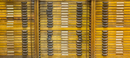 Old cupboard filled with letters for a press - The Netherlands Banque d'images
