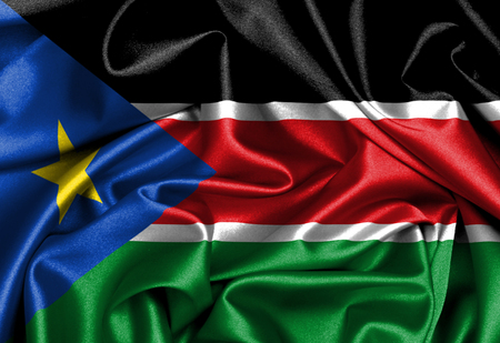 Waving flag, close up - Flag of South Sudan