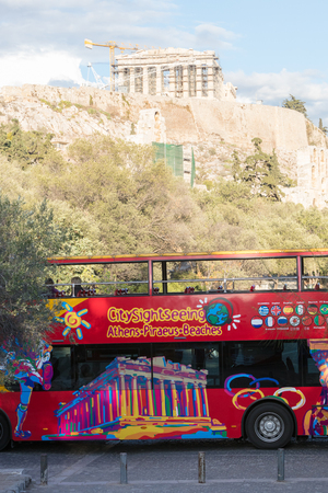 ATHENS, GREECE - October 24, 2017: Sightseeing bus in Athens.