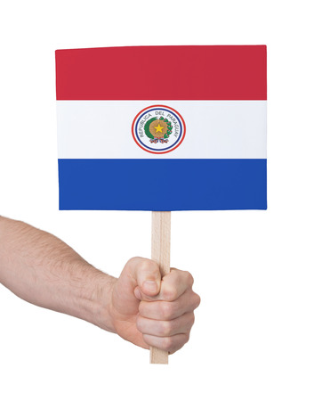 Hand holding small card, isolated on white - Flag of Paraguay