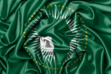 Waving flag, close up - Flag of African Union