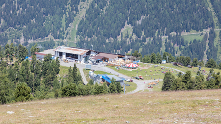 Nauders, Austria - August 9, 2017: Cable car station next to the village of Nauders