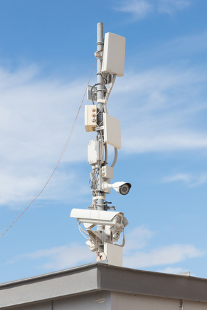 Modern security camera on a pole - Greece Banque d'images