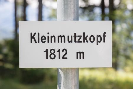 Sign in Austria, the top of a small mountain (Kleinmutzkopf)