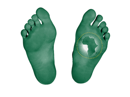 Dead body, feet are isolated on white - African Union