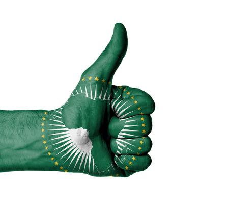 엄지 손가락 기호, 아프리카 연합의 국기를 보여주는 남성 손의 근접 촬영 스톡 콘텐츠