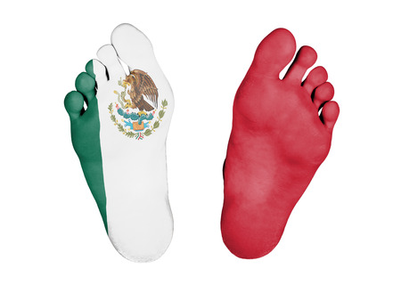 Dead body, feet are isolated on white - Mexico Stock Photo