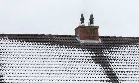 Ice on roof and gutters - Winter in the Netherlands