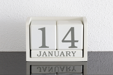 White block calendar present date 14 and month January on white wall background