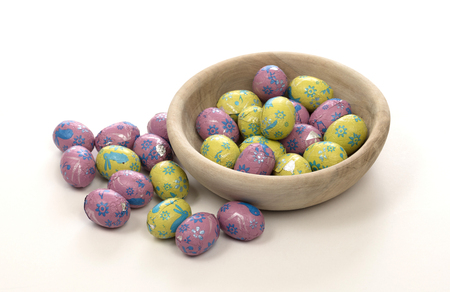 Colorful chocolate easter eggs - Isolated on white Reklamní fotografie