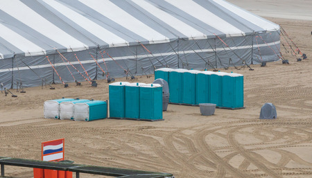Public toilets on the beach - Preparation for a party on the beach