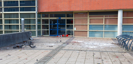 Used fireworks in front of a school, celebrating new year in the Netherlands