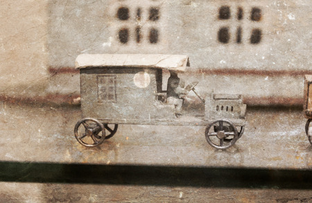 Vintage toy car, isolated, selective focus - Toys from the past