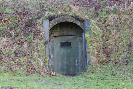 Concrete door in a mountain - Bunker in the mountain