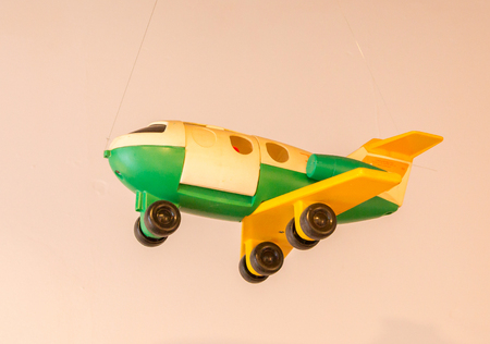 Childrens toy from the 80s - Plastic aircraft - Selective focus
