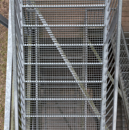 Closeup of a metal staircase - View from the top