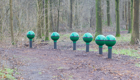 Fitness equipment in a forest - One stage of many - Netherlands Stock Photo