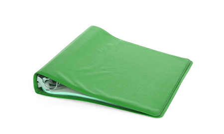Old green ring binder isolated on a white background