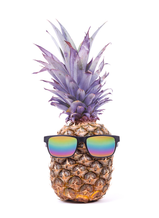 Funny pineapple with sunglasses, isolated on white Stock Photo