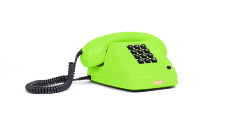 Vintage green telephone with a white background Stock Photo