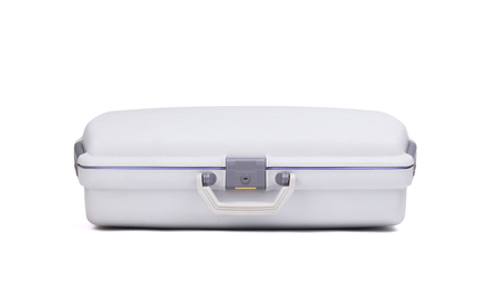 Grey suitcase isolated on a white background